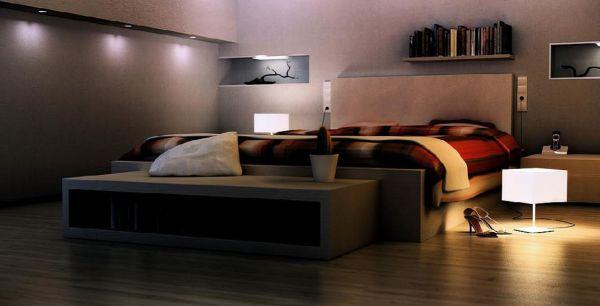 Phòng ngủ thiết kế với tông màu xám và đèn hắt hiện đại
