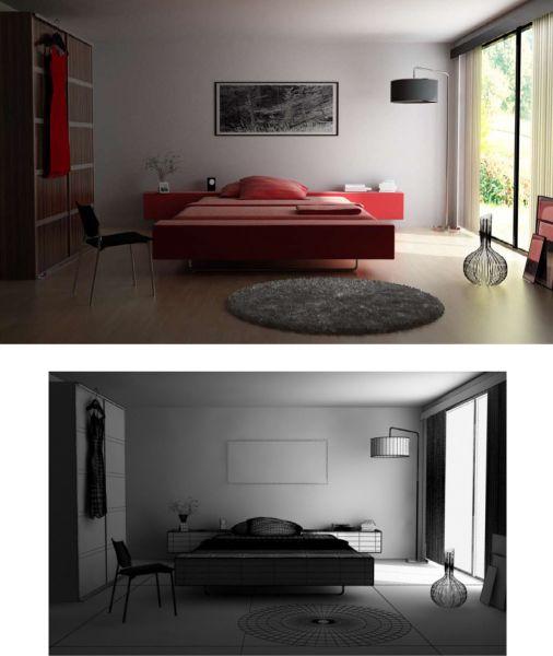 Giường và bộ chăn ga gối màu đỏ tạo cho phòng ngủ vẻ ấm áp